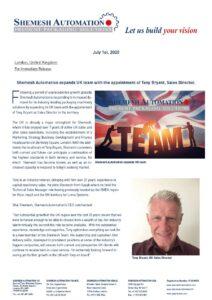Shemesh Automation élargit son équipe au Royaume-Uni avec la nomination de Tony Bryant, directeur des ventes.